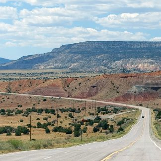New Mexico road to Ghost Ranch, Abiquiu, made famous by Georgia O'Keeffe, Ansel Adams, roads postcards