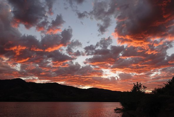 Sunset clouds over the lake, Horsetooth Reservoir, Colorado