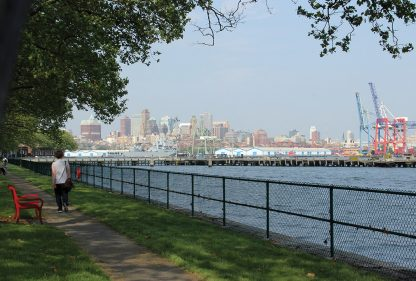 Governors Island, path, bench, walking, views of Brooklyn, harbor, nyc, new york, postcard