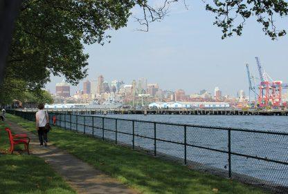 Governors Island, path, bench, walking, views of Brooklyn, harbor, nyc, new york, postcard