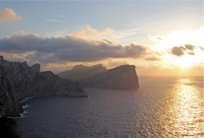 Sunset over Formentor Coastline, Mallorca, Spain, Mediterranean, sunset sky postcards, Happier Place