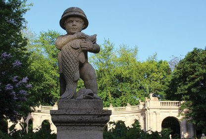 boy holding fish, statue, Maerchenbrunnen, fairy tale fountain, Berlin, Germany, postcard