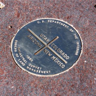 Look down: Four Corners marker, Utah, Colorado, New Mexico, Arizona, postcard