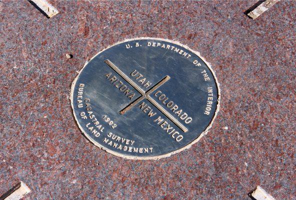 Look down: Four Corners marker, Utah, Colorado, New Mexico, Arizona, postcard