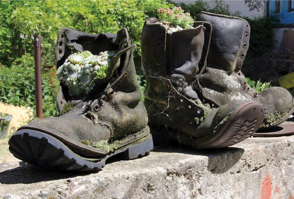 Reboot. Ruse. Recycle. Boots as planters, Berlin, postcard