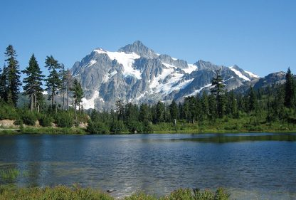 Lake by Mount Shuksan, Washington state, lake postcard