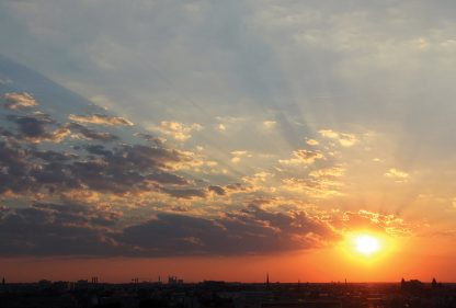 Sunset over Berlin, seen from Reichstag, Himmel ueber Berlin, Happier Place