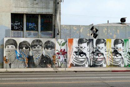 Bandana Beatles, boy with camera, Mr. Brainwash or Banksy, LA, Los Angeles, street art, postcard