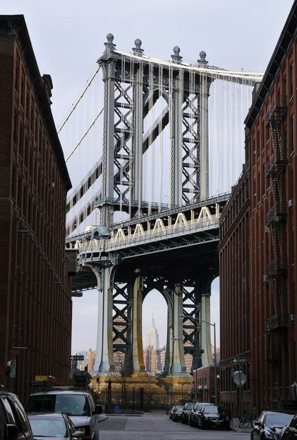 Empire State Building seen through Manhattan Bridge from DUMBO, Brooklyn, iconic postcard