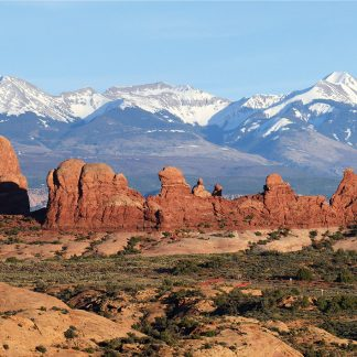 Arches National Park rock formations, La Sal Mountains, Utah, postcard