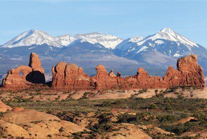 Arches National Park rock formations, La Sal Mountains, Utah, postcard