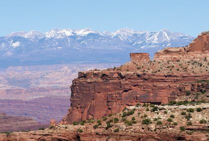 Rock wall, Canyonlands, La Sal Mountains, Utah, folded greeting card, pic075, Happier Place