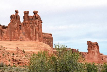 The Gossips and the sheep rock formations, Arches National Park, Moab, Utah, postcard