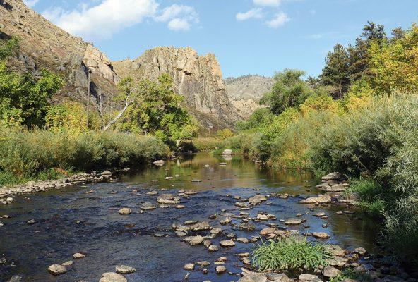 Fly Fishing River in Colorado, Cache la Poudre River, Gateway, river postcards