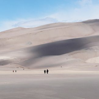 people, great sand dunes national park, colorado, postcard