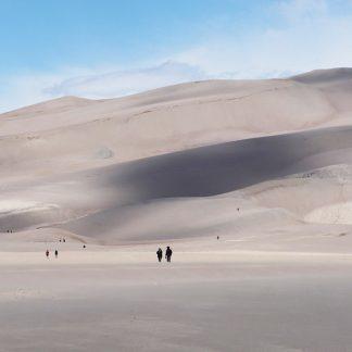 people, great sand dunes national park, colorado, postcard