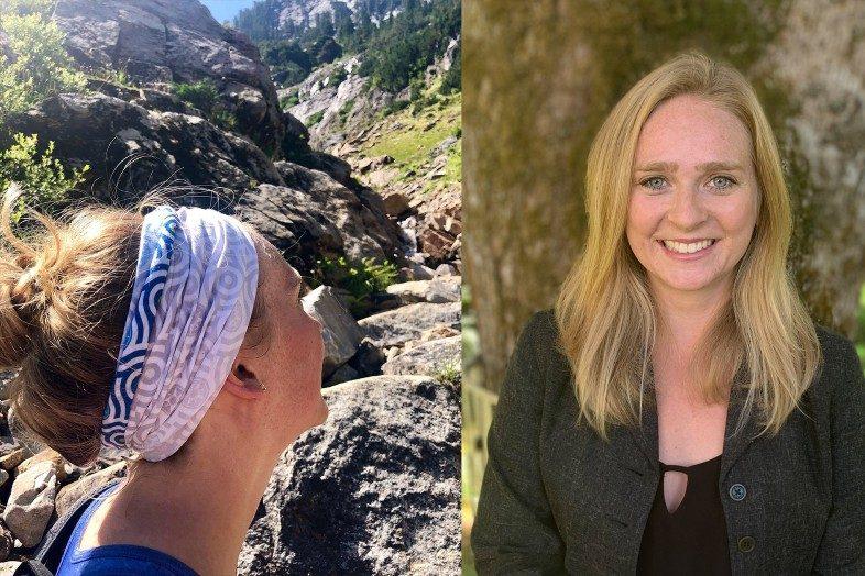 Danielle Bogardus, Happier Ambassador wearing Happier Bandana while hiking