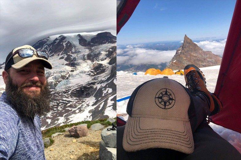 Happier Ambassador Jake climbing Mt. Rainier with a Happier Place hat