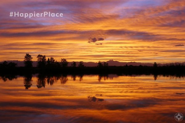 Instagram #HappierPlace August 2019 sunset reflection Colorado lake