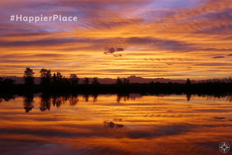 Instagram HappierPlace August 2019 sunset reflection Colorado lake