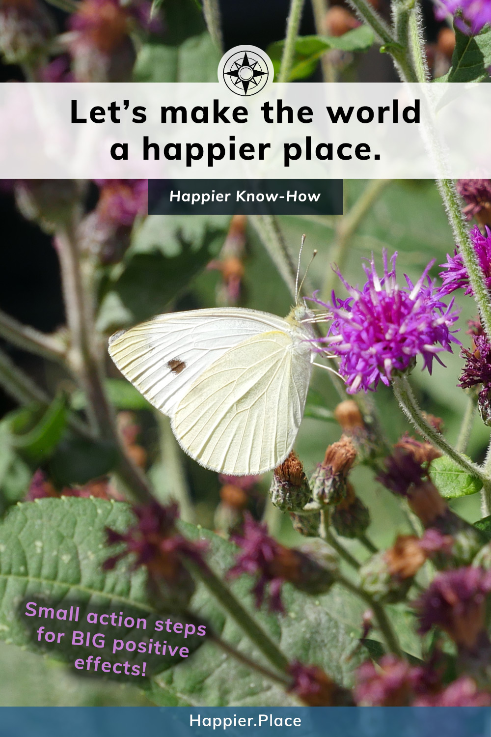 Let's make the world a happier place with action steps, butterfly, happier know-how