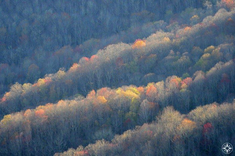Colorful foliage along mountains of Blue Ridge Parkway