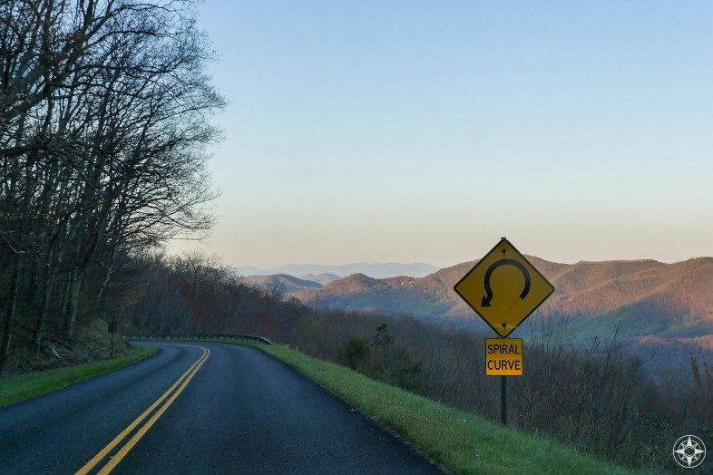 Spiral curve, golden hour, mountains, scenic byway, North Carolina