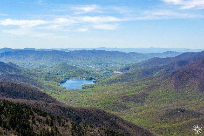 View from Blue Ridge Parkway into the valley surrounding Burnett Reservoir, North Carolina