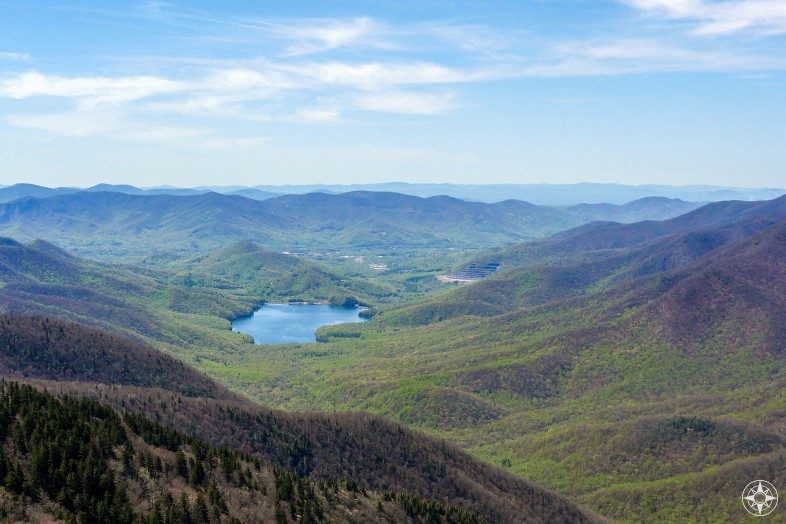 View from Blue Ridge Parkway into the valley surrounding Burnett Reservoir, North Carolina