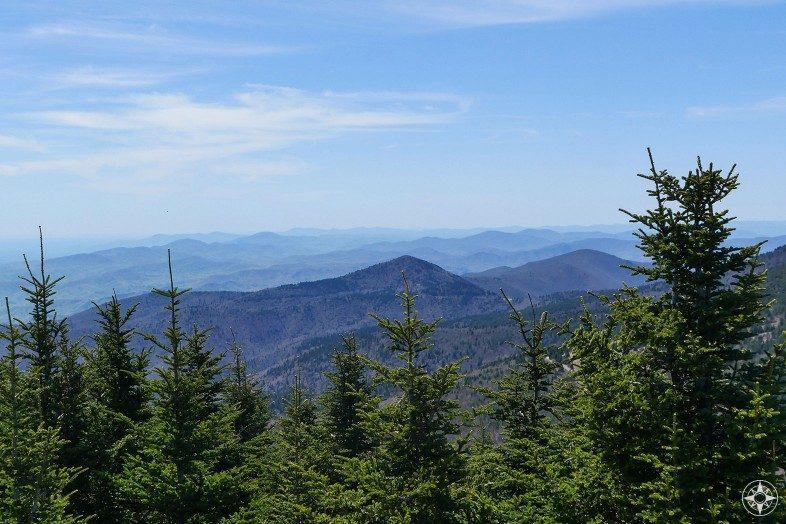Green trees, blue ridge mountains, distance view, blue sky
