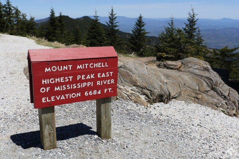 Mount Mitchell sign, highest peak east of Mississippi River, elevation, view