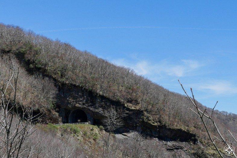 Craggy Pinnacle Tunnel, Blue Ridge Parkway, cuts through rocky mountain