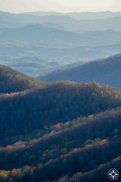 colorful trees, mountain ridges, North Carolina, Blue Ridge Mountains