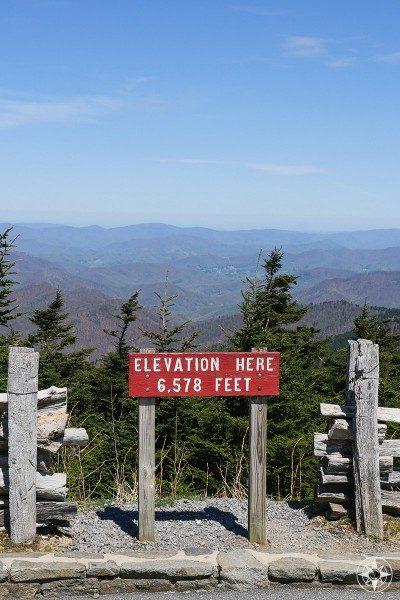 elevation here, Mount Mitchell, sign, mountain vista, North Carolina, Blue Ridge Parkway