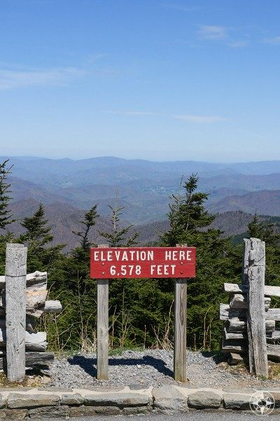 elevation here, Mount Mitchell, sign, mountain vista, North Carolina, Blue Ridge Parkway