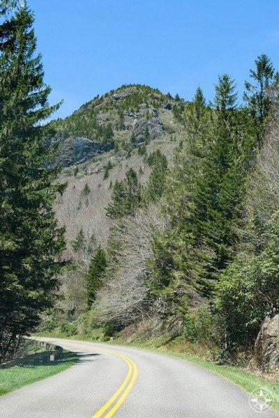 Driving around mountain peaks along Blue Ridge Parkway
