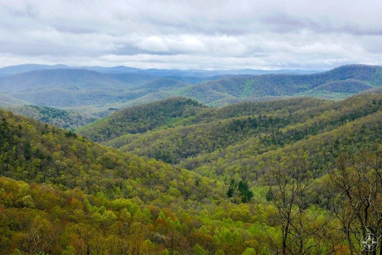 Colorful valleys and hills of the Blue Ridge Mountains