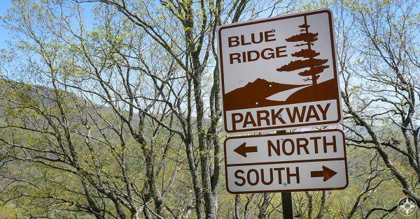 Blue Ridge Parkway, street sign, north, south, arrow, mountain