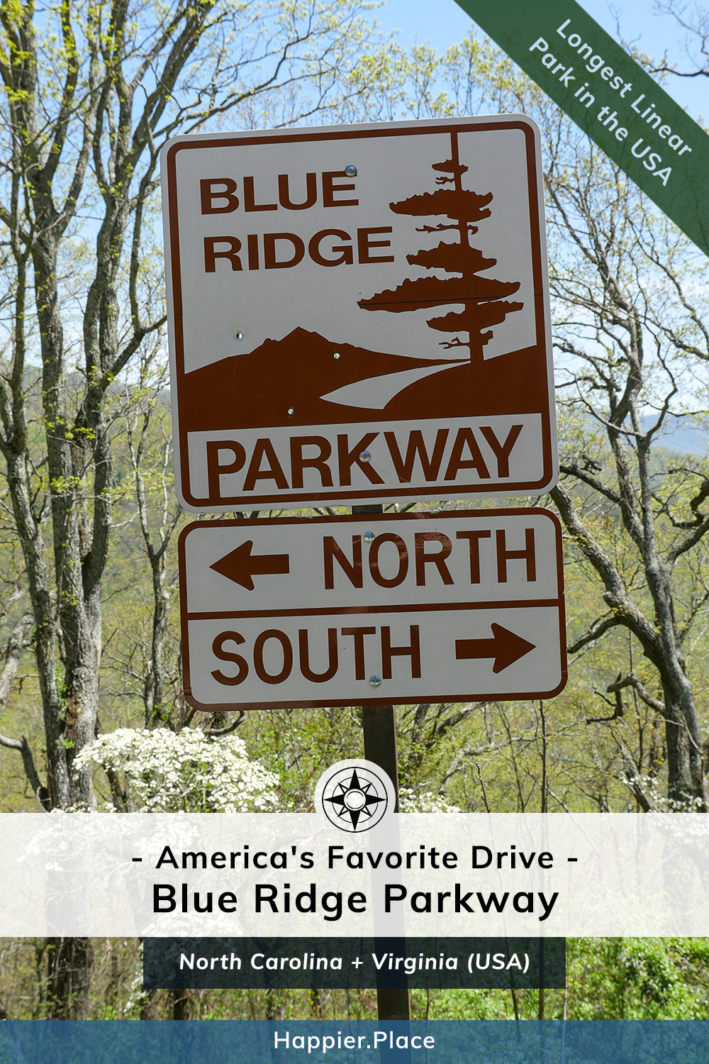Iconic Blue Ridge Parkway sign, America's Favorite Drive and Longest Linear Park in the USA, Happier Place, Virginia, North Carolina