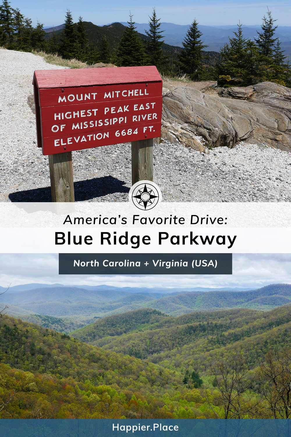 Blue Ridge Parkway: America's Favorite Drive and Longest Linear Park in the USA from Virginia to North Carolina. Mount Mitchell, highest peak