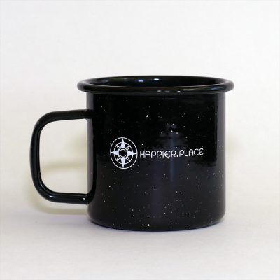 Happier Place enamel camping mug, speckled black, 16 oz