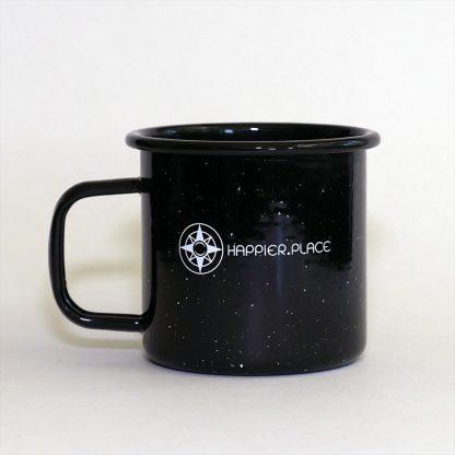 Happier Place enamel camping mug, speckled black, 16 oz