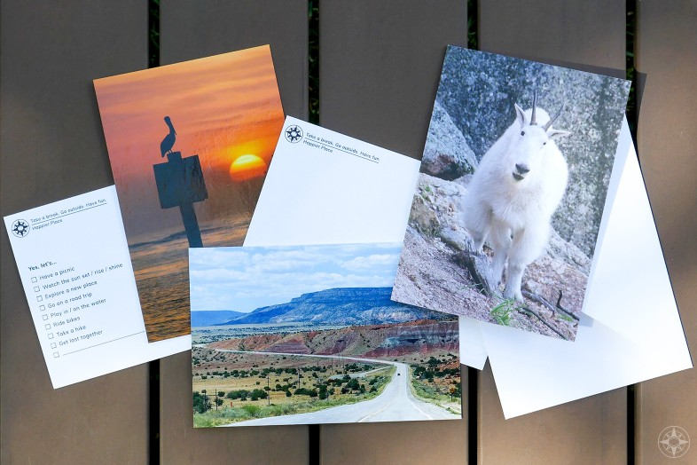 Happier Place cards, mutiple-choice, postcards, greeting cards, nature photography, mountain goat, highway, pelican, sunset, yes lets