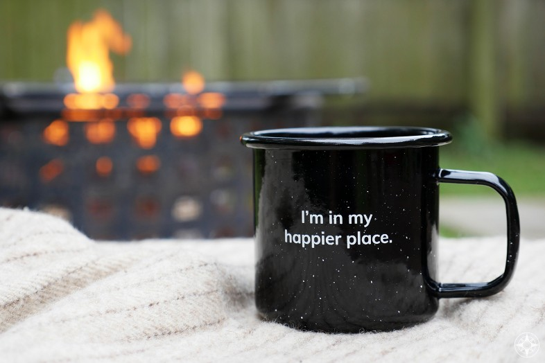I'm in my Happier Place Enamel Mug, wool blanket, outdoor fireplace