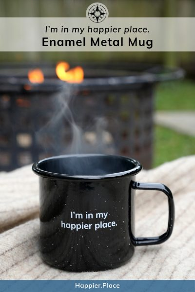 Happier Place Enamel Mug, wool blanket, outdoor fireplace