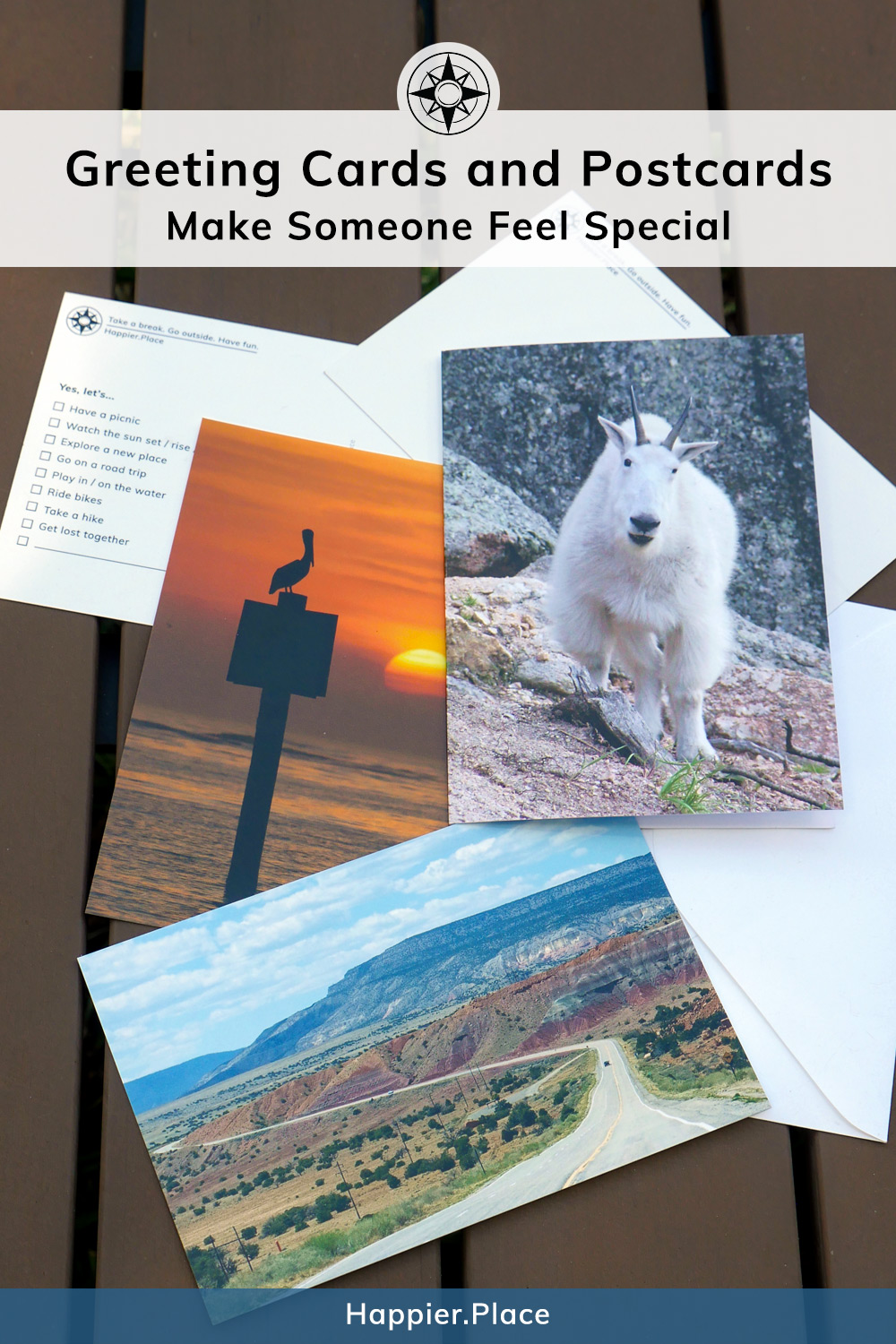 Make someone feel special with Happier Place Cards and Postcards, mountain goat, pelican, sunset, highway, New Mexico