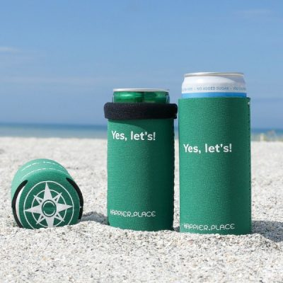 Yes let's neoprene slim can coolie, Happier Place, green, beach, compass logo