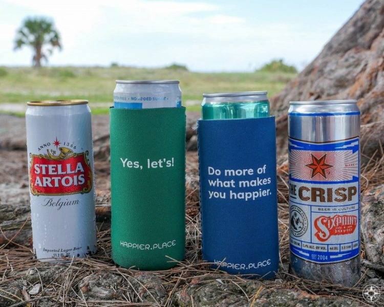 Coolie for slim beer cans, like Sixpoint Brewing, Stella Artois, yes let's, do more of what makes you happier, happier place