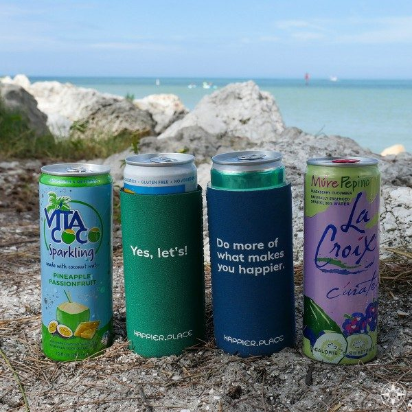 The Happier Place slim can cozies fit perfectly around flavored sparkling waters in slim cans like Vita Coco Sparkling Water and La Croix Curate
