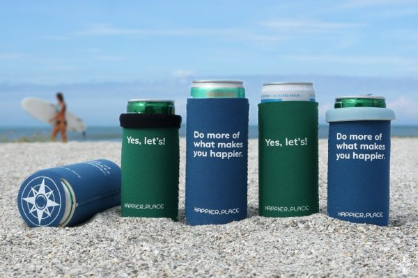 Yes let's and Do more of what makes you happier slim can cozies, can cooler, beach, surfer girl, Happier Place
